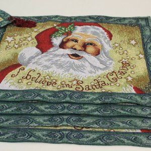 CHRISTMAS TABLE RUNNER & 4 Mats  BELIEVE IN SANTA